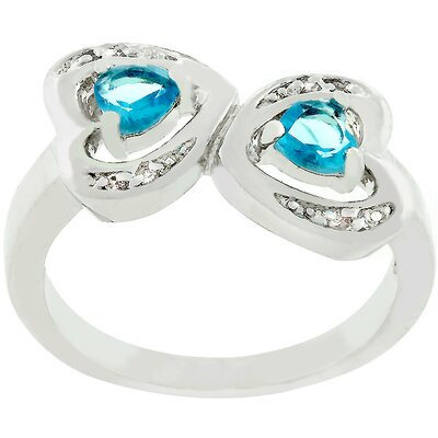 The Review Silver-Tone Aqua Cubic Zirconia Connecting Hearts Ring Size: 8 cheap price