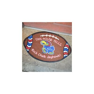 NCCA Football Indoor/Outdoor Doormat NCAA Team: Kansas Jayhawks