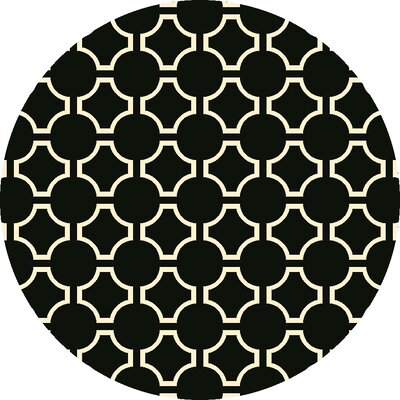 Fallon Coal Black Area Rug Rug Size: Round 8