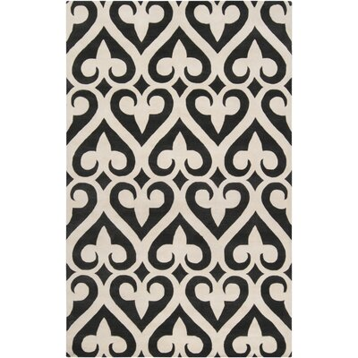 Zuna Geometric Ivory/Black Area Rug Rug size: Rectangle 33 x 53