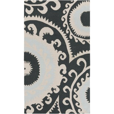 Fallon Black/Light Gray Ikat Area Rug Rug Size: 36 x 56