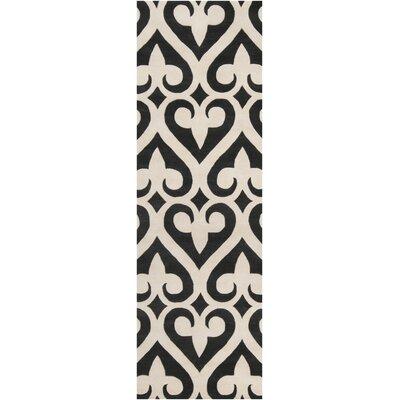 Zuna Geometric Ivory/Black Area Rug Rug size: Runner 26 x 8