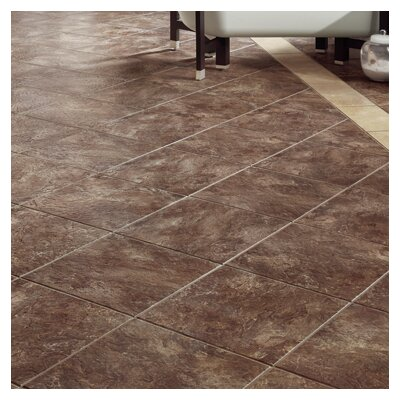 DuraCeramic Sierra Slate 16 x 16 x 4.06mm Luxury Vinyl Tile in Chocolate