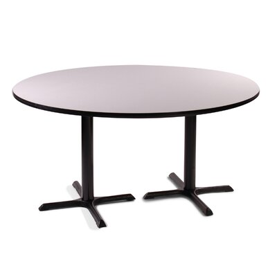 High Round Bar and Caf� Table with 2 Cross Bases and 2 Columns Color: Black Granite