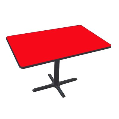 Rectangular Bar and Caf� Table with Cross Base and Column Size: 42 W x 30 D, Color: Red