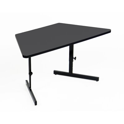 Height Adjustable Training Table with Modesty Panel Tabletop Finish: Mahogany