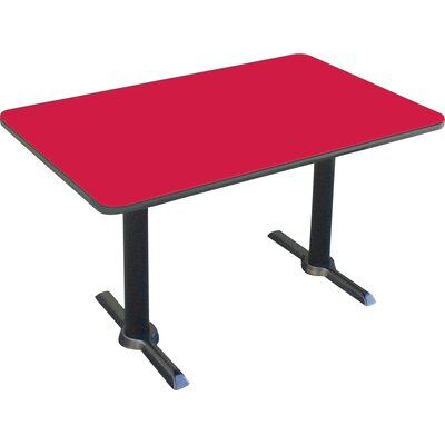 Rectangular Bar and Caf� Table with T-Bases and Columns Size: 60 W x 30 D, Color: Red