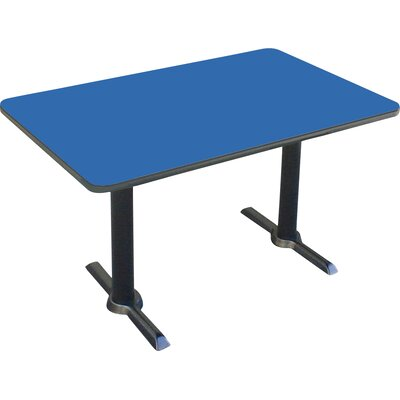 Rectangular Bar and Caf� Table with T-Bases and Columns Size: 48 W x 30 D, Color: Blue