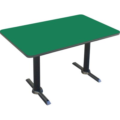Rectangular Bar and Caf� Table with T-Bases and Columns Size: 48 W x 30 D, Color: Green