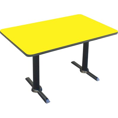Rectangular Bar and Caf� Table with T-Bases and Columns Size: 60 W x 30 D, Color: Yellow