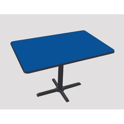 Rectangular Bar and Caf� Table with Cross Base and Column Size: 48 W x 30 D, Color: Blue