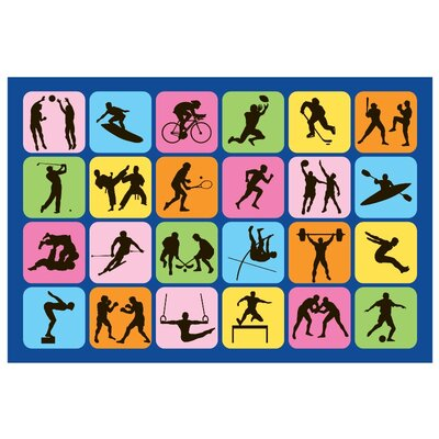 Fun Time Sports Symbol Kids Rug Rug Size: 33 x 410