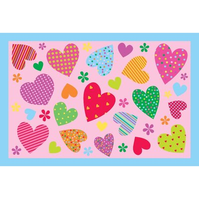 "Fun Time Hearts-Pink Kids Rug Rug Size: 1'7"" x 2'5"" FT-127 1929"