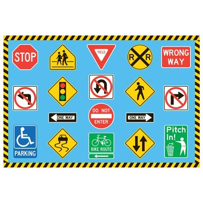 Fun Time Traffic Signs Kids Rug Rug Size: 43 x 66