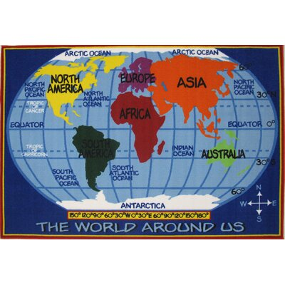 Fun Time World Map Kids Rug Rug Size: 27 x 311