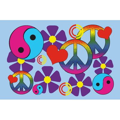 Fun Time Lovely Peace Kids Rug Rug Size: 17 x 25