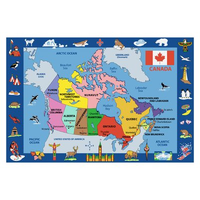 Fun Time Map of Canada Kids Rug Rug Size: 43 x 66