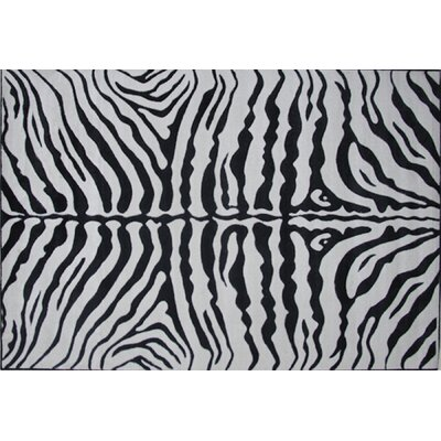Supreme Zebra Skin Machine Woven Black/White Area Rug Rug Size: 53 x 76