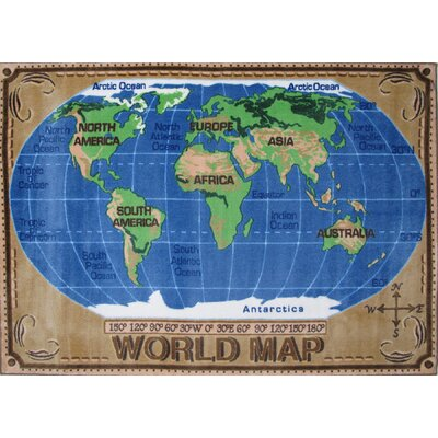 Supreme World Map Kids Rug Rug Size: 53 x 76