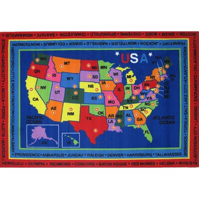 Fun Time State Capitals Kids Rug Rug Size: 27 x 311