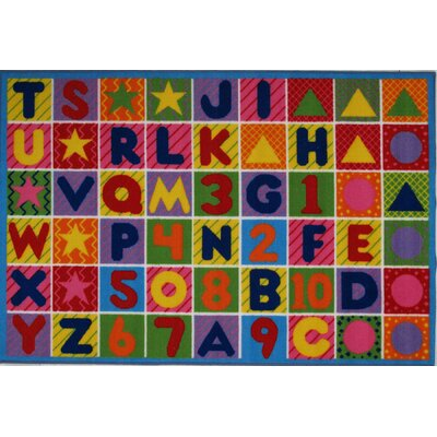 Fun Time Numbers and Letters Kids Area Rug Rug Size: 53 x 76