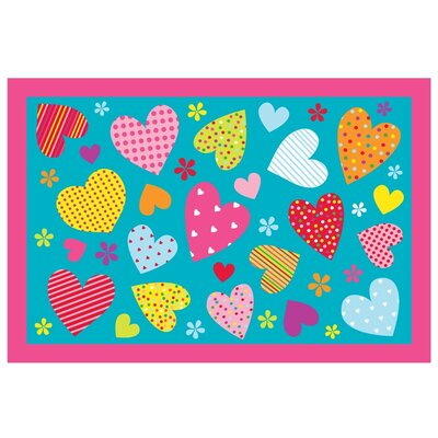 Fun Time Hearts-Turquoise Kids Rug Rug Size: 3'3
