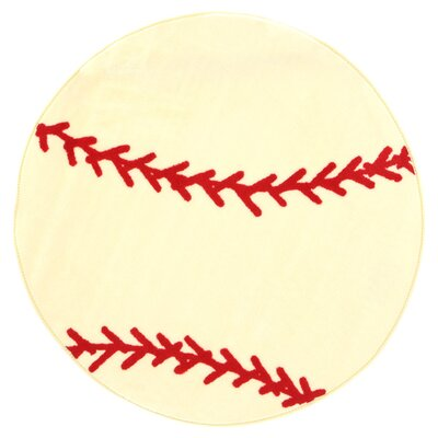 Fun Shape High Pile Baseball Sports Area Rug Rug Size: Round 33