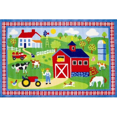 Olive Kids Country Farm Green Area Rug Rug Size: 17 x 25