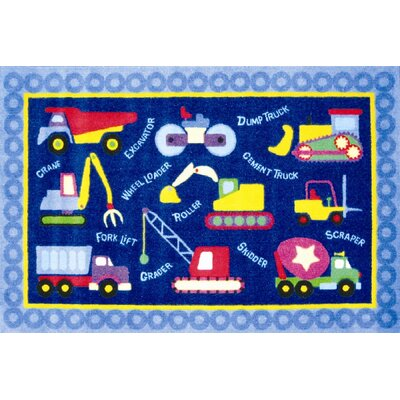 Olive Kids Under Construction Truck Blue Area Rug Rug Size: 33 x 410