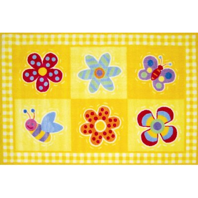 Olive Kids Flowerland Flower Yellow Area Rug Rug Size: 33 x 410