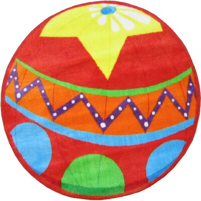 Fun Shape High Pile Circus Ball Red Area Rug Rug Size: Round 33