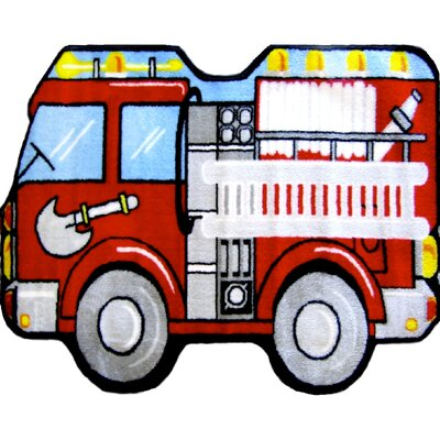 Fun Shape Medium Pile Fire Truck Area Rug Rug Size: Fire Truck 21 x 33
