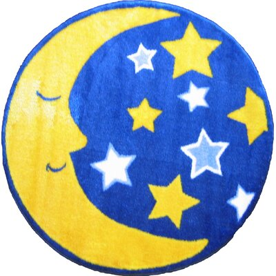 Fun Shape High Pile Moon and Stars Space Area Rug Rug Size: Round 27