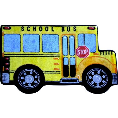 Fun Shape High Pile School Bus Area Rug Rug Size: Novelty 27 x 311