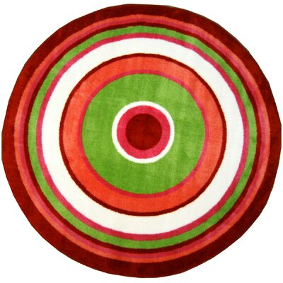 Fun Shape High Pile Concentric Circles Orange Area Rug Rug Size: Round 43