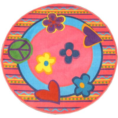Fun Shape High Pile Peace Area Rug Rug Size: Round 43