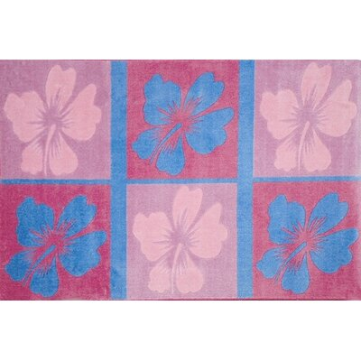 Supreme Hula Dream Flower Pink/Blue Area Rug Rug Size: 33 x 410