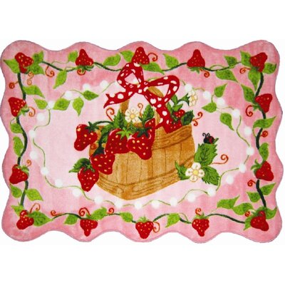 Supreme Strawberry Patch Girls Pink Area Rug Rug Size: 33 x 410