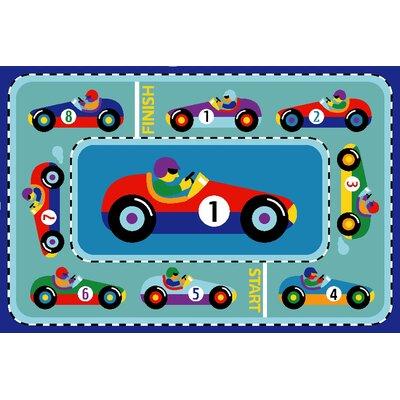 Olive Kids Vroom Car Blue Area Rug Rug Size: 17 x 25