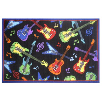 Fun Time Guitars Black Area Rug Rug Size: 17 x 25