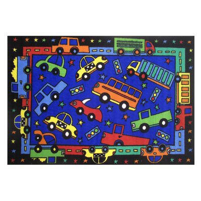 Fun Time Bip Bip Blue Area Rug Rug Size: 17 x 25