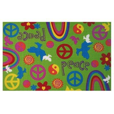 Fun Time Peace and Harmony Green Area Rug