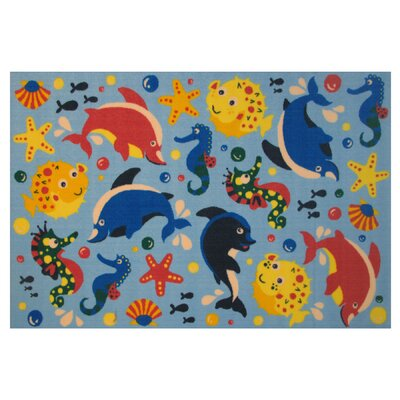 Fun Time Aquarium Blue Area Rug Rug Size: 1'7