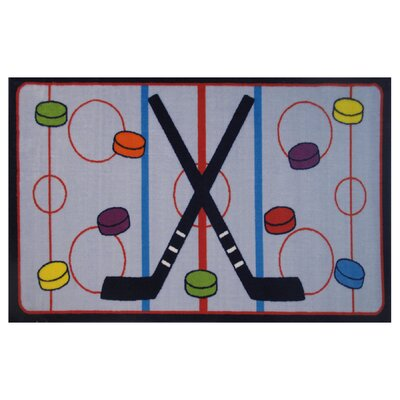 Fun Time On The Ice Gray Area Rug Rug Size: 17 x 25