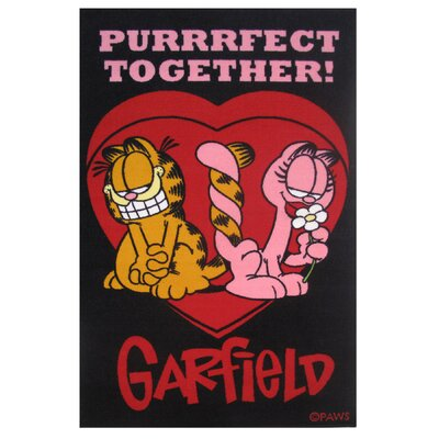 Garfield Purrfect Together Black Area Rug Rug Size: 17 x 25