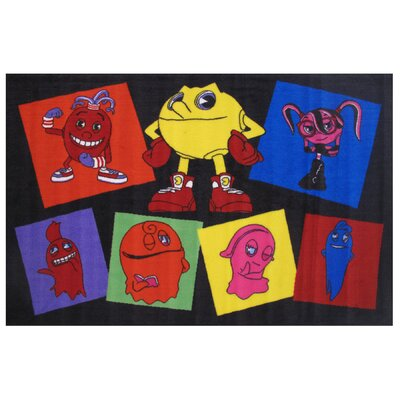 Pac-Man Party Black Area Rug
