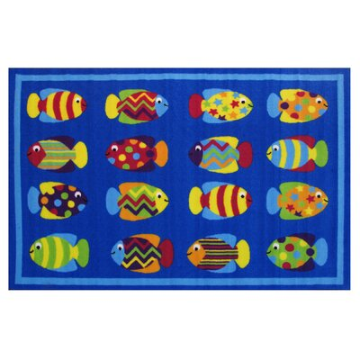 Fun Time Fish Tank Blue Area Rug Rug Size: 17 x 25