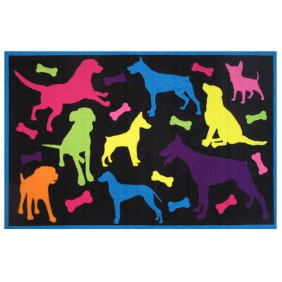 Fun Time Bow Wow Black Area Rug Rug Size: 17 x 25