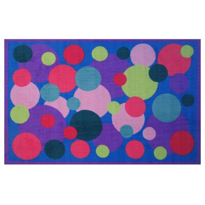 Fun Time Poppin Bubbles Blue Area Rug Rug Size: 17 x 25