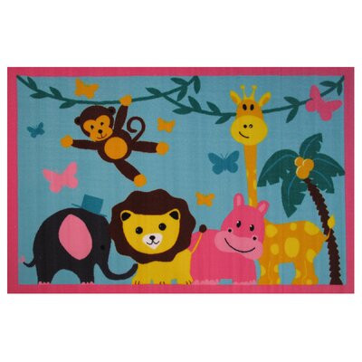 Fun Time Jungle Party Blue Area Rug